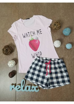 Дамска лятна пижама с къс ръкав и къси панталонки Иватекс 87096 в розово