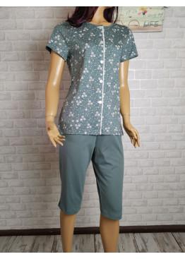 Дамска лятна пижама с къс ръкав и копчета Иватекс 3487