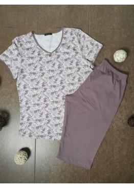 Дамска лятна пижама с къс ръкав Иватекс 3484 с големи размери до 4XL