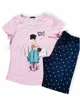 Дамска лятна пижама с къс ръкав Иватекс 7674
