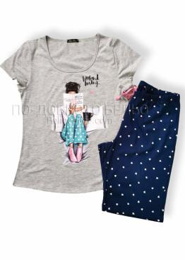 Дамска лятна пижама с къс ръкав Иватекс 7675