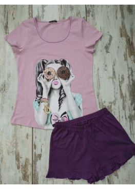 Дамска лятна пижама с къс ръкав Иватекс 7741