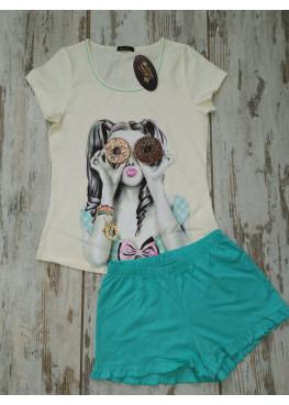 Дамска лятна пижама с къс ръкав Иватекс 7743