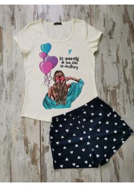 Дамска лятна пижама с къс ръкав Иватекс 7762