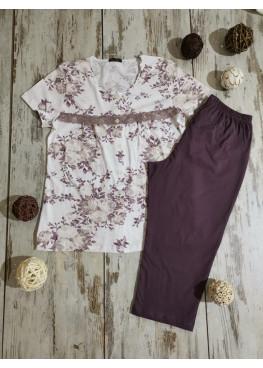 Дамска лятна пижама с къс ръкав Иватекс 7822