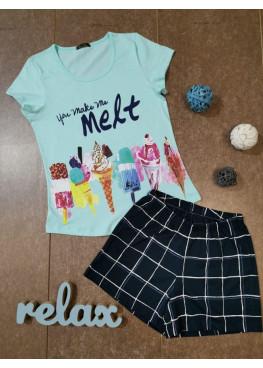 Дамска лятна пижама с къс ръкав Иватекс 7913