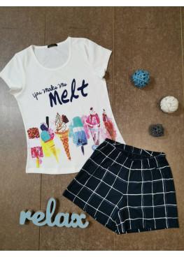 Дамска лятна пижама с къс ръкав Иватекс 7914