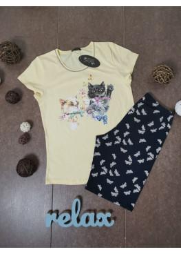 Дамска лятна пижама с къс ръкав Иватекс с котки 8703 в жълт цвят