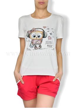 Дамска  лятна пижама с къси панталони  6051