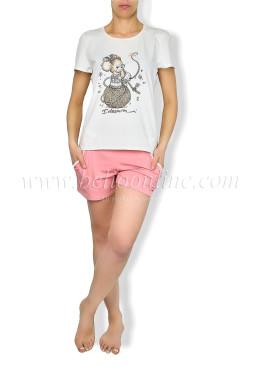 Дамска  лятна пижама с къси панталони  6052
