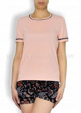 Дамска лятна пижама с къси панталонки на цветя 6049