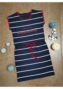 Дамска лятна рокля без ръкави в тъмно синьо райе Иватекс 7975