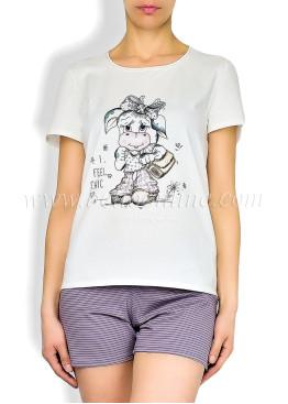 Дамска  памучна лятна пижама на райета  6050