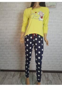 Дамска памучна пижама Иватекс 3532 в жълто