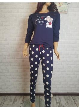 Дамска памучна пижама Иватекс 3532 в тъмно синьо
