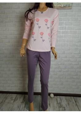 Дамска памучна пижама Иватекс 3540 в розово