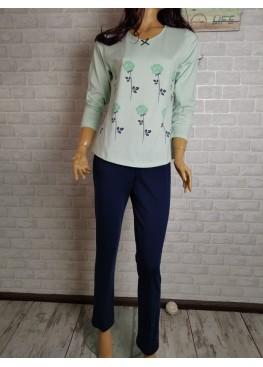 Дамска памучна пижама Иватекс 3540 в зелено