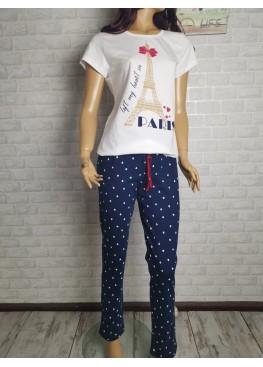 Дамска памучна пижама Иватекс 9598 в екрю