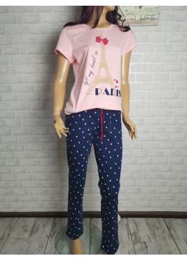 Дамска памучна пижама Иватекс 9598 в розово