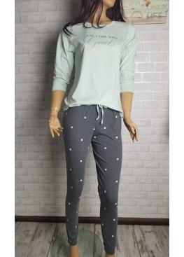 Дамска памучна пижама в зелено Иватекс 3557