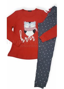 Дамска памучна пижама интерлог Иватекс 3117 в червено с бухалче