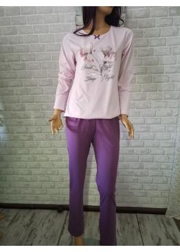 Дамска памучна пижама Иватекс с цвете 3292