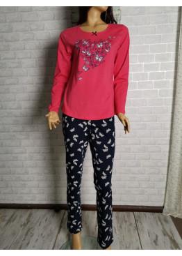 Дамска памучна пижама Иватекс с пеперуди 3288 в червено