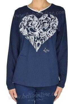 Дамска памучна пижама IvaTex  6904