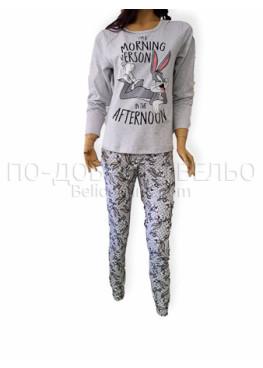 Дамска памучна пижама с дълъг ръкав Иватекс 3219 в светло сиво с зайчето Бъни