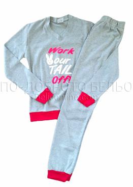 Дамска памучна пижама с дълги ръкави Faun 8329