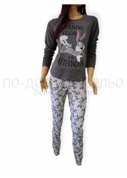 Дамска памучна пижама с дълги ръкави и долнище с маншет Иватекс 3219 в тъмно сиво с зайчето Бъни