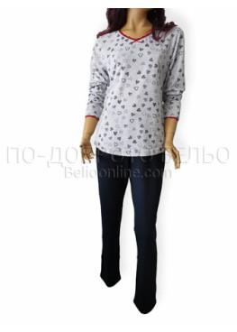 Дамска памучна пижама с големи размери Иватекс 3255 в свтло сиво на сърца