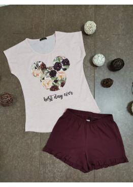 Дамска памучна пижама с Мики Маус в светло розово Иватекс 7980