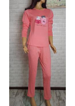 Дамска пижама с дълъг ръкав с котета в цвят праскова Иватекс 3556