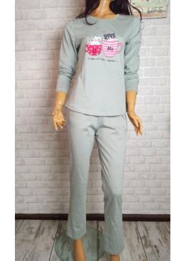 Дамска пижама с дълъг ръкав с котета в зелено Иватекс 3556