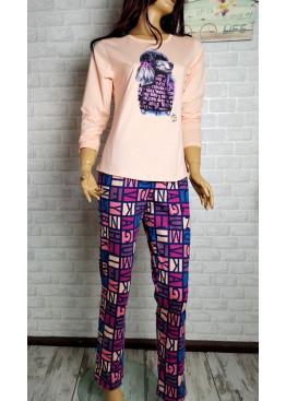 Дамска пижама с дълго долнище и дълъг ръкав Иватекс 3552