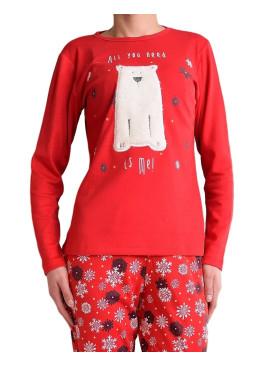 Дамска   пижама 4850 червена с мече