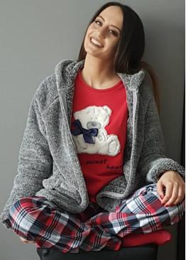 Дамска пижама Furore с пухкаво сладко мече в червено