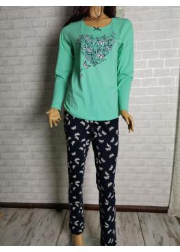 Дамска пижама с дълъг ръкав Иватекс 3288 в зелено