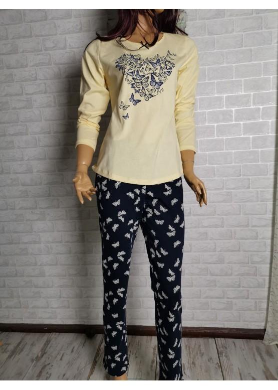 Дамска пижама с дълъг ръкав Иватекс 3288 в жълто