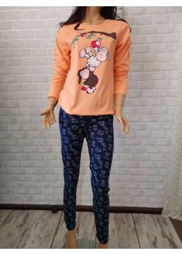 Дамска пижама с дълъг ръкав с овце Иватекс 3290 в оранжево