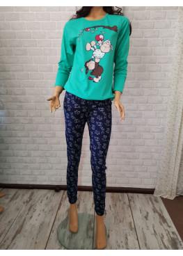 Дамска пижама с дълъг ръкав с овце Иватекс 3290 в зелено