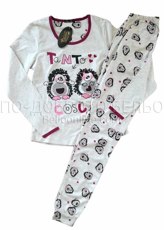 Дамска пижама с дълъг ръкав в бежов меланж с таралежи Иватекс 8313