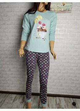 Дамска пижама с дълго долнище и дълъг ръкав Иватекс 3295 с Мече и кексче