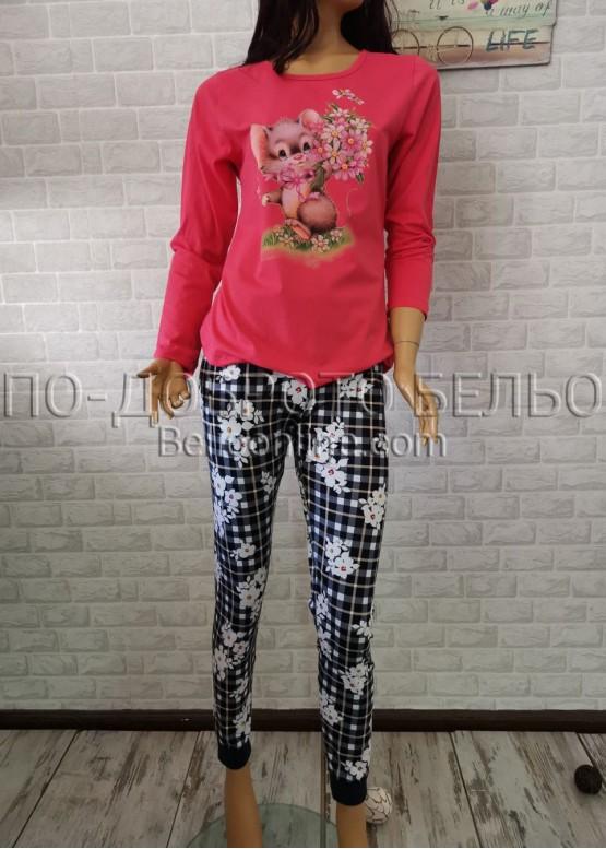 Дамска пижама с дълго долнище и дълъг ръкав Иватекс 3300 в червен цвят