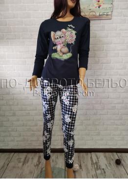 Дамска пижама с дълго долнище и дълъг ръкав Иватекс 3300 в тъмно син цвят