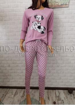 Дамска пижама с дълго долнище и дълъг ръкав Иватекс 3361 в пепел от рози