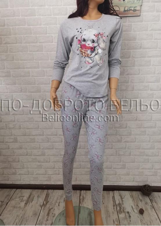 Дамска пижама с дълго долнище и дълъг ръкав Иватекс 3365 в сив меланж