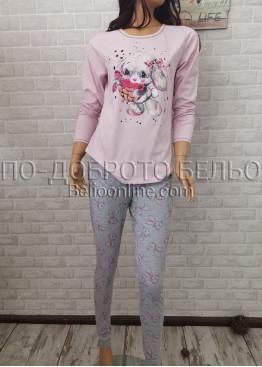 Дамска пижама с дълго долнище и дълъг ръкав Иватекс 3365 в светло розово