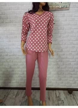Дамска пижама с дълго долнище и дълъг ръкав Иватекс 3367 на точки в пепел от рози